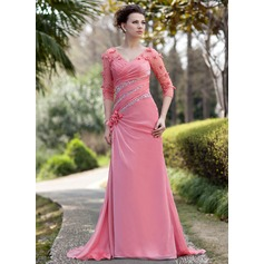 A-Linie/Princess-Linie V-Ausschnitt Sweep/Pinsel zug Chiffon Kleid für die Brautmutter mit Rüschen Perlen verziert Blumen Pailletten