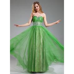 A-Linie/Princess-Linie Herzausschnitt Bodenlang Tüll Abiballkleid mit Rüschen Perlen verziert