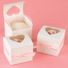 Heart Shape Laser Cut Cubic Cupcake Boxes With Ribbons