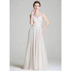 Vestidos princesa/ Formato A Decote redondo Longos De chiffon Vestido para a mãe da noiva com Pregueado Bordado Apliques de Renda lantejoulas