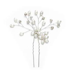 Señoras Maravilloso Rhinestone/La perla de faux Horquillas con Rhinestone/Perla Veneciano (Se venden en una sola pieza)
