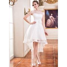 A-Line/Princess Scoop Neck Asymmetrical Organza Wedding Dress With Lace Beading Flower(s)
