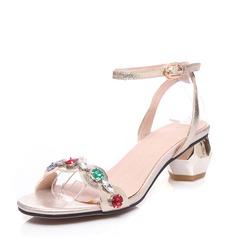 Kvinnor Äkta läder Tjockt Häl Sandaler Beach Wedding Shoes med Spänne Strass