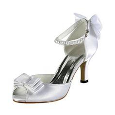 Pour femme Satiné Talon aiguille Bout ouvert Sandales avec Noeud papillon Perle simulée