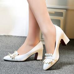 Naisten Kiiltonahka Chunky heel Avokkaat Suljettu toe jossa Tupsu kengät