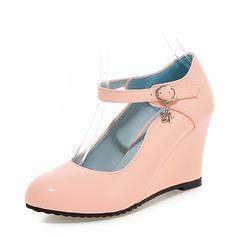Vrouwen PU Wedge Heel Pumps Closed Toe Wedges met Gesp schoenen