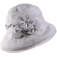 Señoras' Hermoso/Estilo clásico Algodón/Lino con Flor Bombín / cloché Sombrero