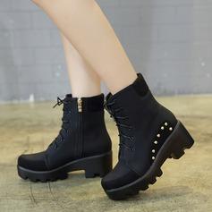 Naisten Mokkanahka Chunky heel Kengät Mid-calf saappaat jossa Satiini jousi Nauhakenkä kengät