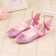 Muchacha Punta Cerrada Sparkling Glitter Talón plano Planos Zapatos de niña de las flores con Bowknot Brillo Chispeante Velcro
