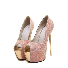 Women's Sparkling Glitter Stiletto Heel Pumps Platform Peep Toe shoes