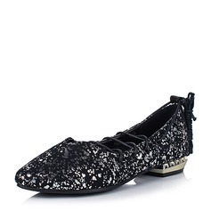 Frauen Kunstleder Niederiger Absatz Flache Schuhe Geschlossene Zehe mit Zuschnüren Schuhe