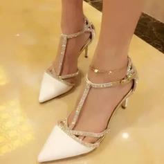 Women's Leatherette Microfiber Leather Stiletto Heel Closed Toe Pumps Sandals With Buckle Rhinestone