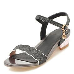Frauen Funkelnde Glitzer Niederiger Absatz Sandalen Peep Toe mit Schnalle Schuhe