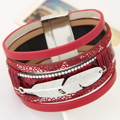 Mode Legering Kunstleer met Strass Dames Fashion Armbanden