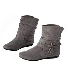 Kvinner Lær Flat Hæl Flate sko Støvler Ankelstøvler med Spenne sko
