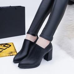 Frauen PU Stämmiger Absatz Absatzschuhe Stiefel Stiefelette mit Reißverschluss Schuhe