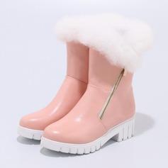 Kvinner Lær Flat Hæl Støvler Lukket Tå Flate sko med Glidelås