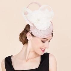 Senhoras Fantasia Cambraia com Flor de seda Fascinators
