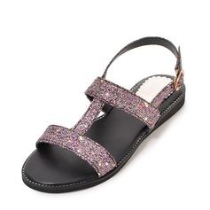 Donna PU Senza tacco Sandalo Ballerine con Fibbia scarpe