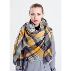 Plaid Oversized/Cold weather Acrylic/Artificial Wool Poncho (204170834)