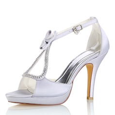Women's Silk Like Satin Stiletto Heel Platform Pumps Sandals With Bowknot Crystal
