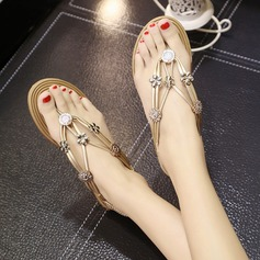 Kvinnor Konstläder Flat Heel Sandaler Peep Toe Slingbacks med Strass Beading Elastiskt band skor