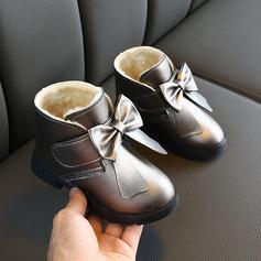 Jentas Round Toe Lukket Tå Leather flat Heel Støvler Flower Girl Shoes med Bowknot