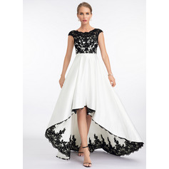 A-Line Scoop Neck Asymmetrical Satin Wedding Dress