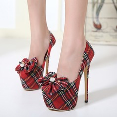 Women's Canvas Stiletto Heel Pumps Platform Closed Toe With Rhinestone Bowknot shoes