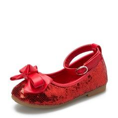 Fille de Bout fermé en tissu talon plat Chaussures plates Chaussures de fille de fleur avec Bowknot Paillette Velcro