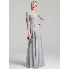 A-Linie/Princess-Linie U-Ausschnitt Bodenlang Chiffon Kleid für die Brautmutter mit Rüschen Applikationen Spitze Pailletten (008091948)