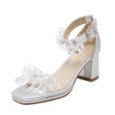 Frauen PVC Stämmiger Absatz Sandalen Peep Toe mit Strass Schuhe