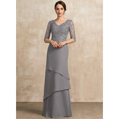 Трапеция V-образный Длина до пола шифон Кружева Платье Для Матери Невесты с Ниспадающие оборки