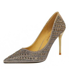 Kvinnor PU Stilettklack Pumps med Strass skor