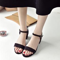 Женщины Замша Устойчивый каблук Сандалии На каблуках Открытый мыс Босоножки с пряжка обувь