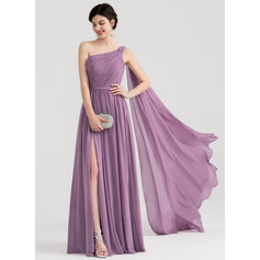 A-Line/Princess One-Shoulder Floor-Length Chiffon Evening Dress With Ruffle Split Front