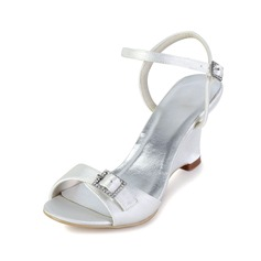Women's Satin Wedge Heel Peep Toe Sandals Slingbacks With Buckle Rhinestone