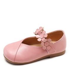 Ragazze Punta chiusa finta pelle Heel piatto Ballerine Scarpe Flower Girl con Fiore
