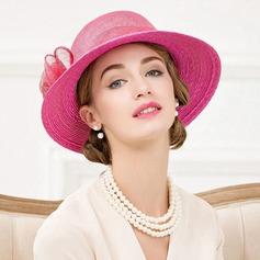 Señoras' Elegante Ratán paja Bombín / cloché Sombrero/Sombreros Tea Party