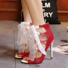 De mujer Cuero Tacón stilettos Sandalias Encaje con Cremallera Cordones zapatos