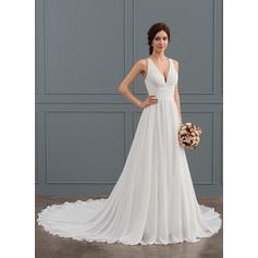 A-Line/Princess V-neck Chapel Train Chiffon Wedding Dress With Beading Sequins