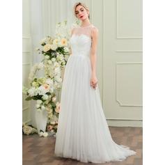 Forme Princesse Col rond alayage/Pinceau train Tulle Robe de mariée