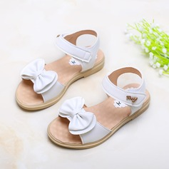 Girl's Leatherette Flat Heel Peep Toe Sandals With Bowknot Velcro
