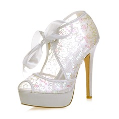 Women's Lace Stiletto Heel Peep Toe Platform Sandals With Sequin Lace-up