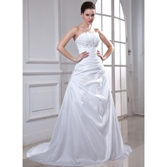 A-Line/Princess Scalloped Neck Chapel Train Taffeta Wedding Dress With Ruffle Beading Appliques Lace Sequins