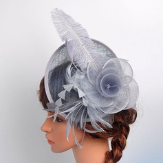 Ladies' Beautiful/Elegant Cotton With Feather/Silk Flower/Tulle Fascinators/Kentucky Derby Hats/Tea Party Hats (196130407)