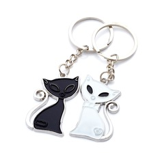 "Personalized ""Cute Fox"" Chrome Keychains (Set of 6 Pairs)"