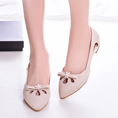 Women's Patent Leather Flat Heel Flats Closed Toe With Bowknot Imitation Pearl Hollow-out shoes