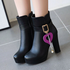 Women's PU Stiletto Heel Boots Ankle Boots With Buckle Zipper shoes