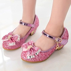 Girl's Sparkling Glitter Low Heel Closed Toe Sandals With Beading Sparkling Glitter